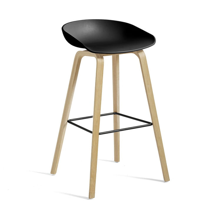 Hay - About A Stool AAS 32, oak frame (matt lacquered), stainless steel footrest / black seat shell H85, plastic glides