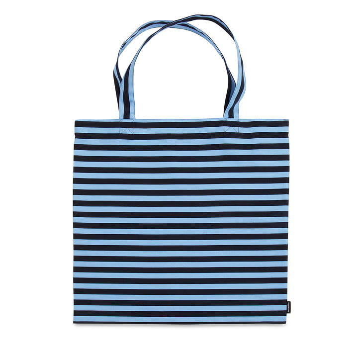 Tasaraita Shopping Bag by Marimekko in Dark Blue / Light Blue
