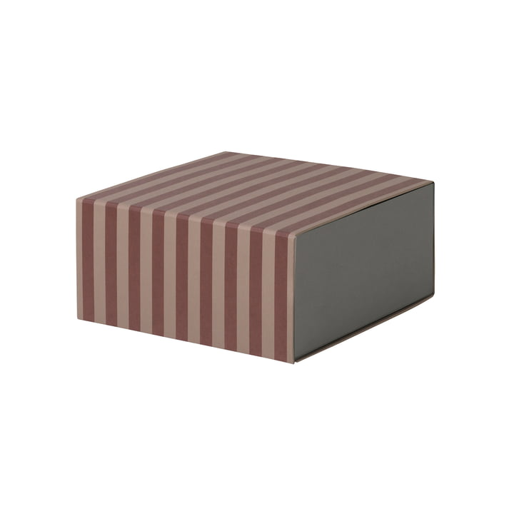 Striped Box Square by ferm Living in Burgundy / Pink