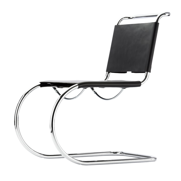 S 533 L Chair by Thonet in Chrome / Black Butt Leather