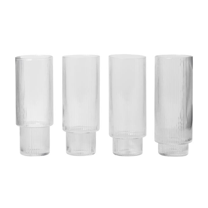 ferm Living - Ripple Long Glasses (set of 4)
