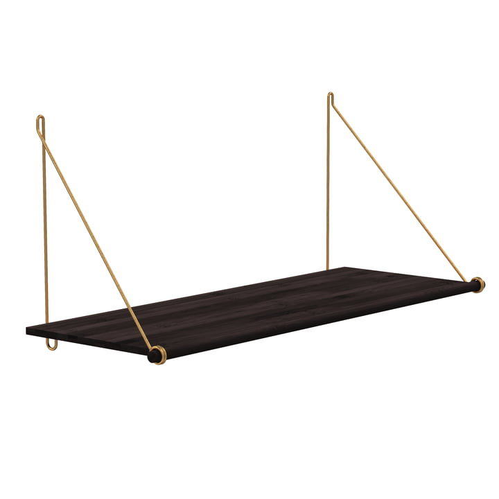 Loop Shelf by We Do Wood in Dark Bamboo / Brass