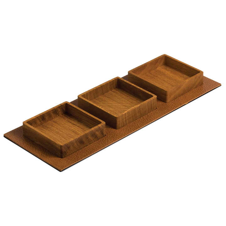 Serving Tray Set, Square 44 x 16,5 cm by LindDNA in natural oak / natural Bull