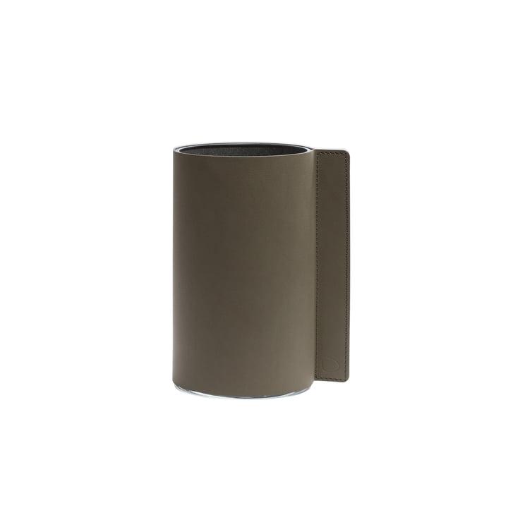 Block Vase M, Ø 11 x 20 cm by LindDNA, army green Nupo / glass