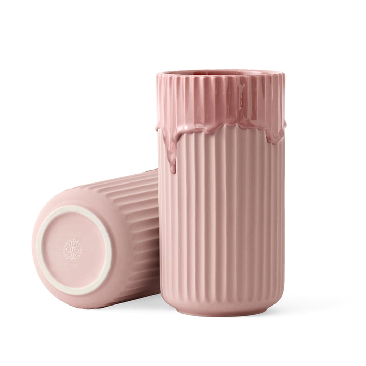 Lyngby vase with barrel glaze H 20 cm from Lyngby Porcelæn in pink