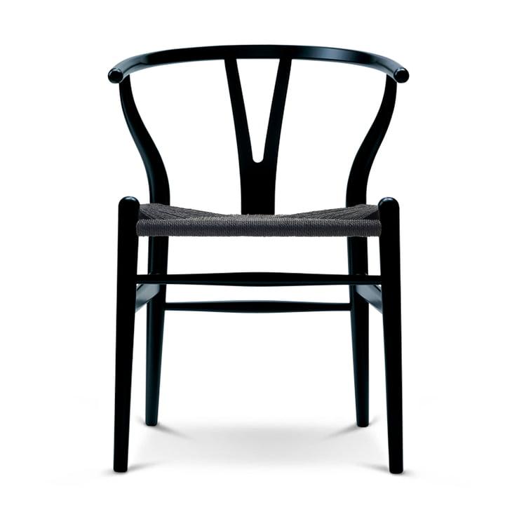 Der Carl Hansen - CH24 Wishbone Chair, beech black / black mesh