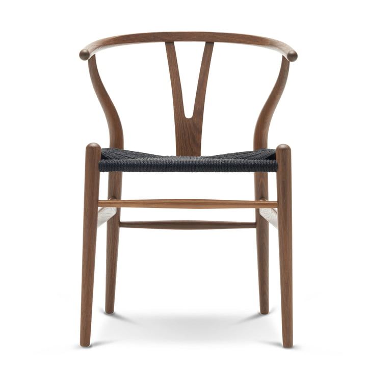 The Carl Hansen - CH24 Wishbone Chair, oak with smoke stain / black wicker