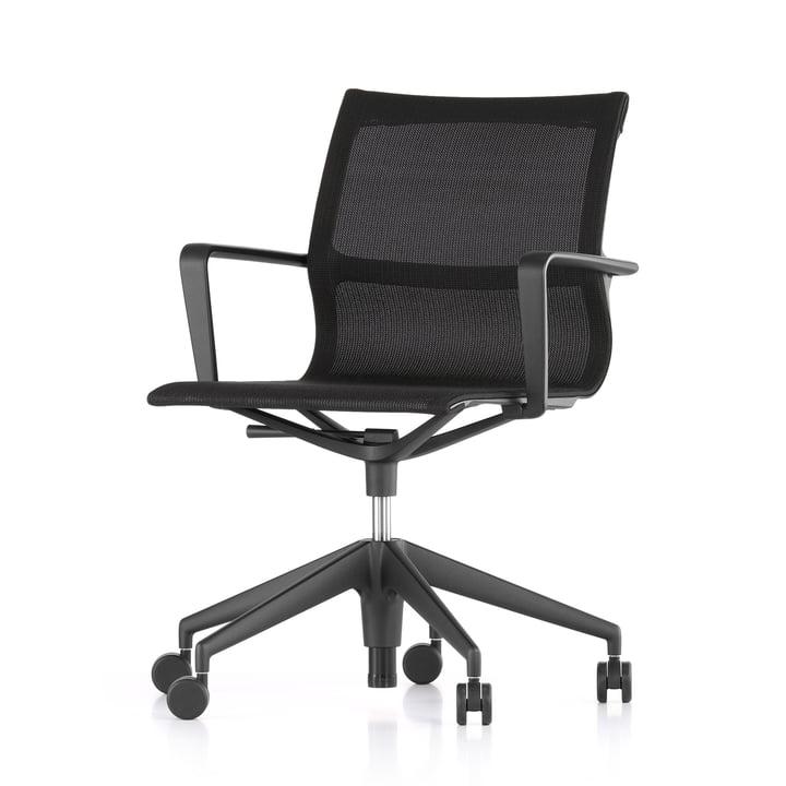 The Vitra - Physix Studio office swivel chair, TrioKnit black pearl cover, deep black frame colour, soft castors for hard floors