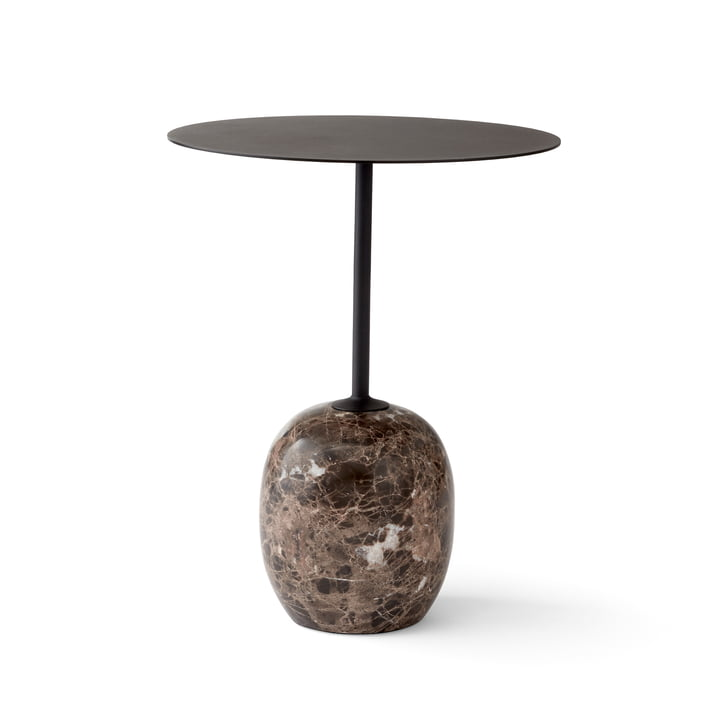 Lato Side Table H 50 cm Ø 40 cm by &Tradition in Warm Black / Emparador Marble