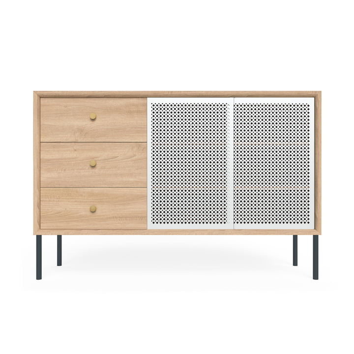 Gabin Sideboard High with Drawers by Hartô in Oak / Light Grey (RAL 7035)