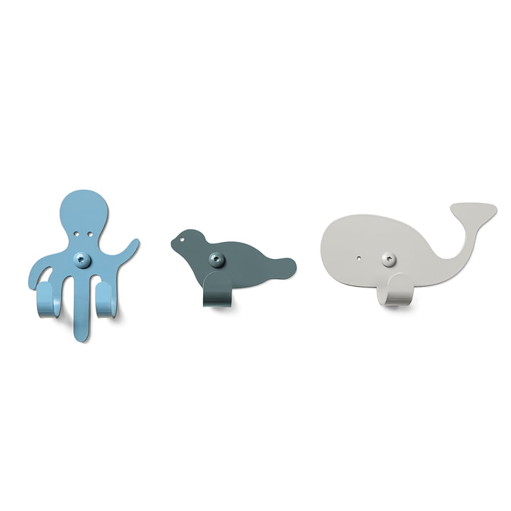 The vonbox - Wall Hooks Zoo, ocean (set of 3)