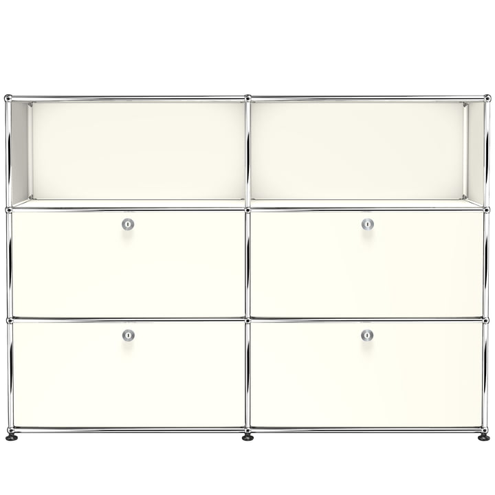 USM Haller - Sideboard M with Four Drop-Down Doors, Pure White (RAL 9010)