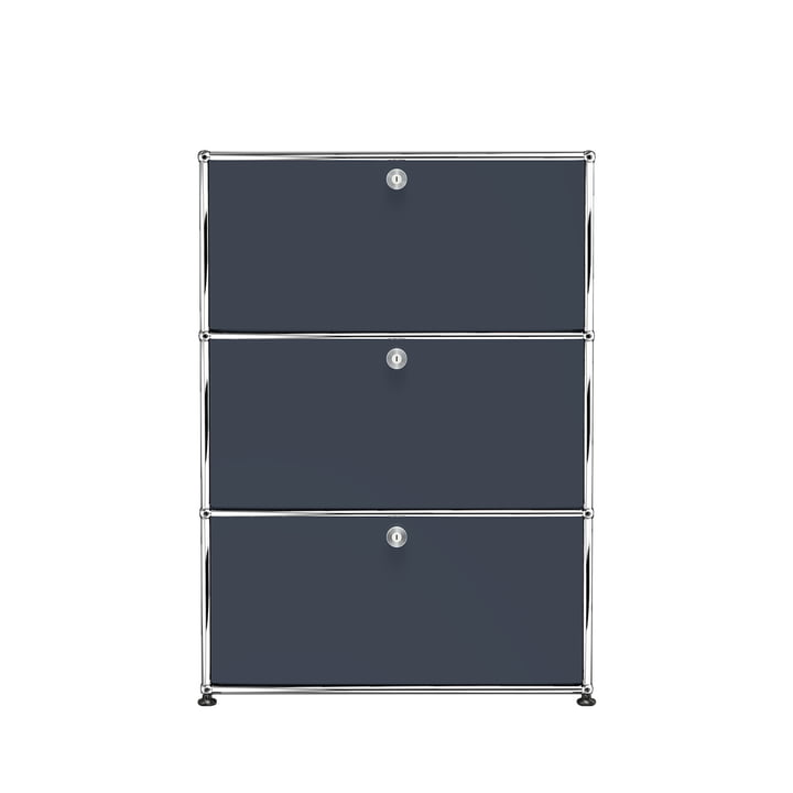 The USM Haller - Storage Unit S with Three Drop-Down Doors, Anthracite Grey (RAL 7016)