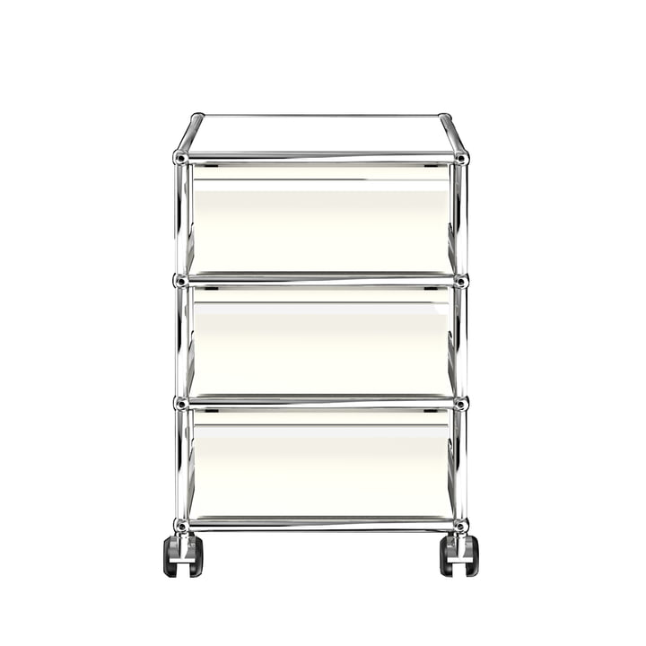 The USM Haller - Mobile Cabinet with Three Drawers, Pure White