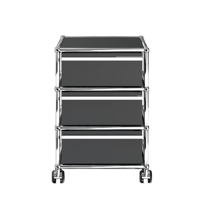 The USM Haller - Mobile Cabinet with Three Drawers, Graphite Black (RAL 9011)