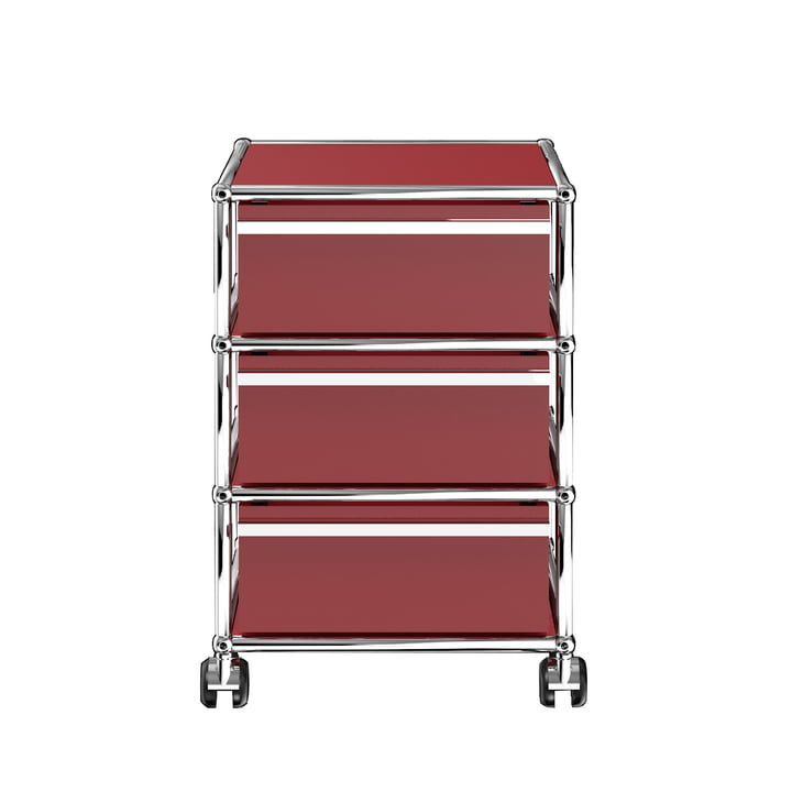 USM Haller - Mobile Cabinet with Three Drawers, USM Ruby Red