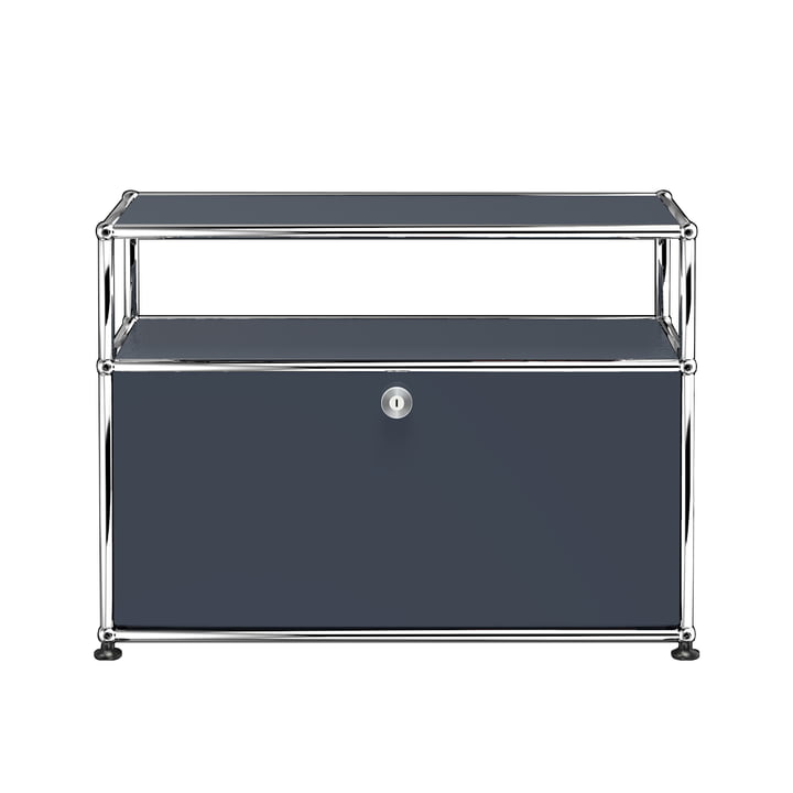 USM Haller - TV / Hi Fi Stand S with Drop-Down Door and Shelves, Anthracite Grey (RAL 7016)