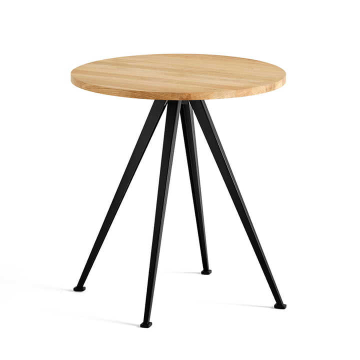The Hay - Pyramid Bistro Table 21, Ø 70 cm, Matt Lacquered Oak / Black