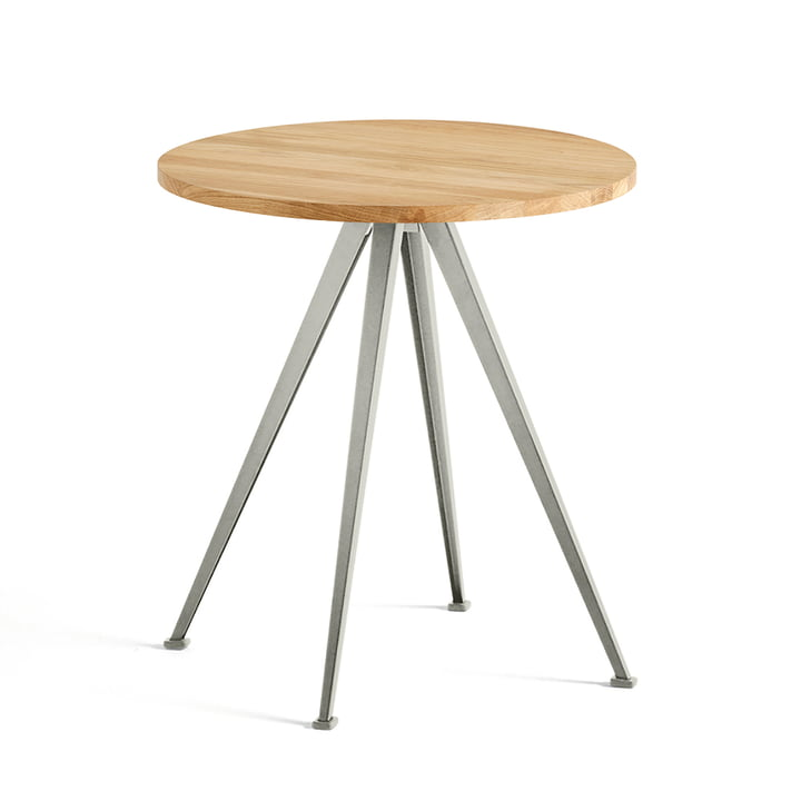 The Hay - Pyramid Bistro Table 21, Ø 70 cm, Matt Lacquered Oak / Beige
