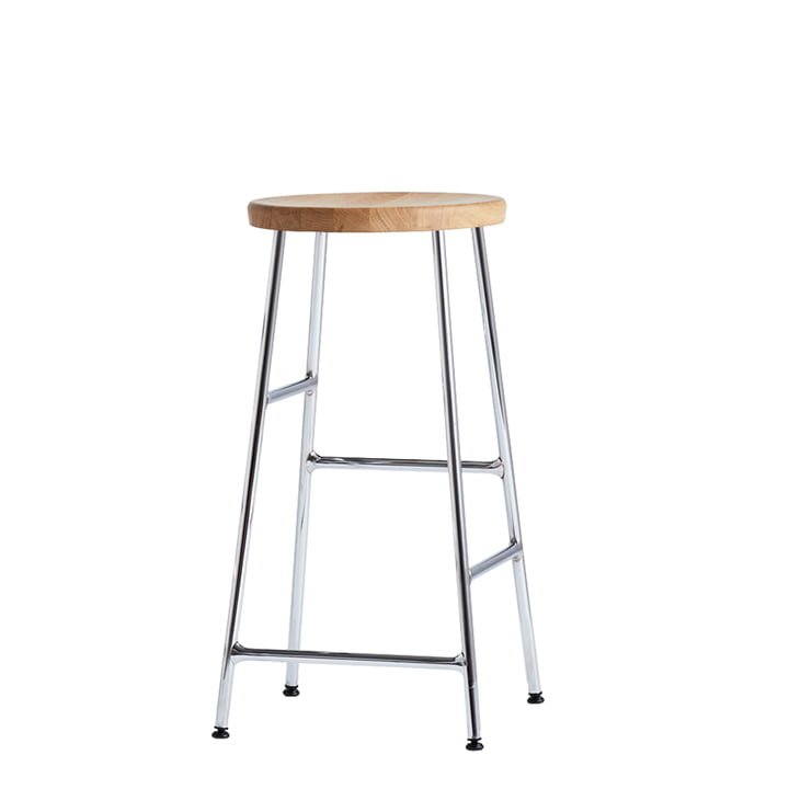 Cornet Bar Stool Low H 65 cm in Oiled Oak / Chrome