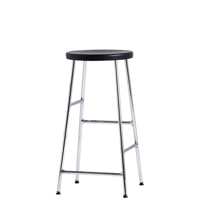 Cornet Bar Stool Low H 65 cm by Hay in Black Stained Oak / Chrome