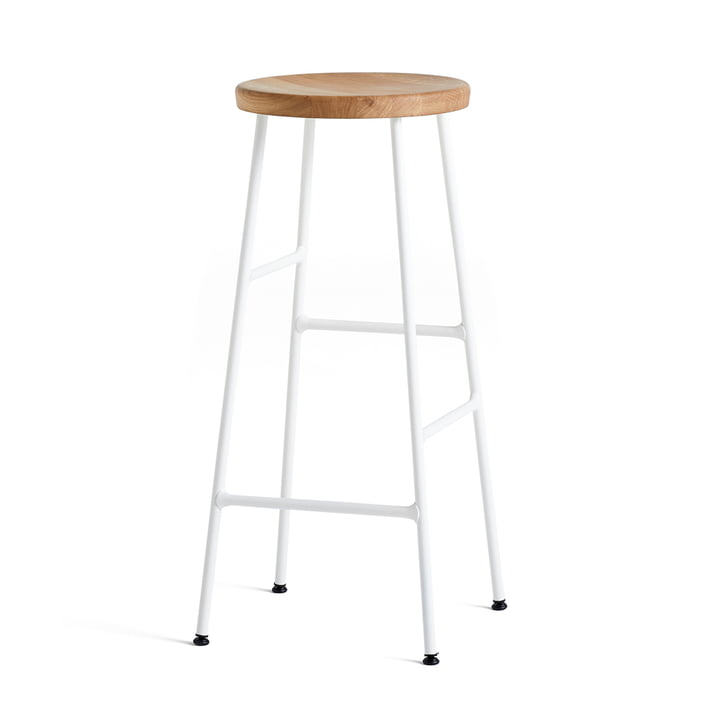 Cornet Bar Stool High H 75 cm by Hay in Oiled Oak / Cream White
