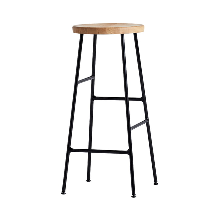 Cornet Bar Stool High H 75 cm by Hay in Oiled Oak / Black