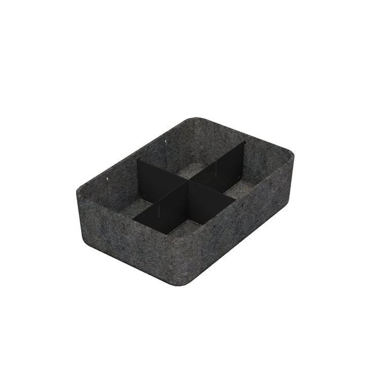 USM Haller - Inos box with divider, 22.3 x 32.2 cm, H 9.5 cm / anthracite