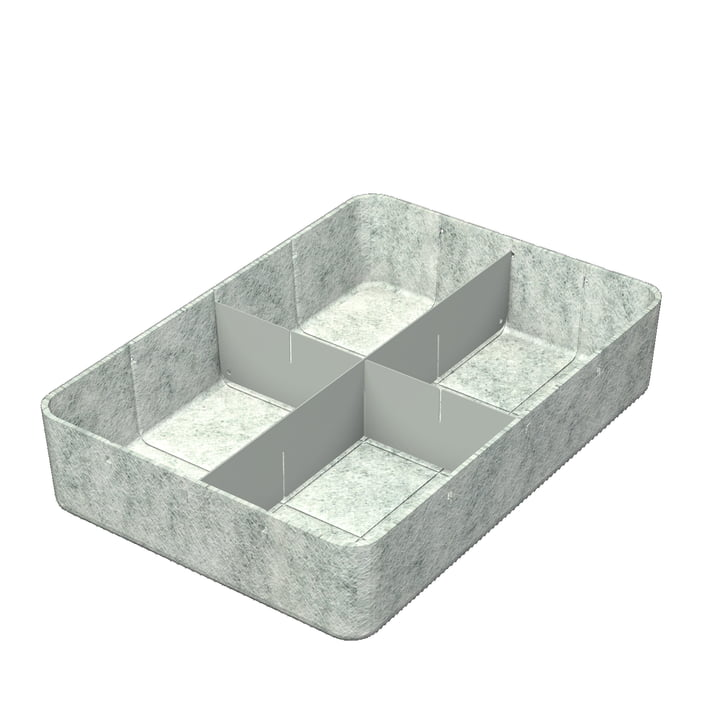 USM Haller - Inos Box with Divider , 45.3 x 32.2 cm, H 9.5 cm / light grey
