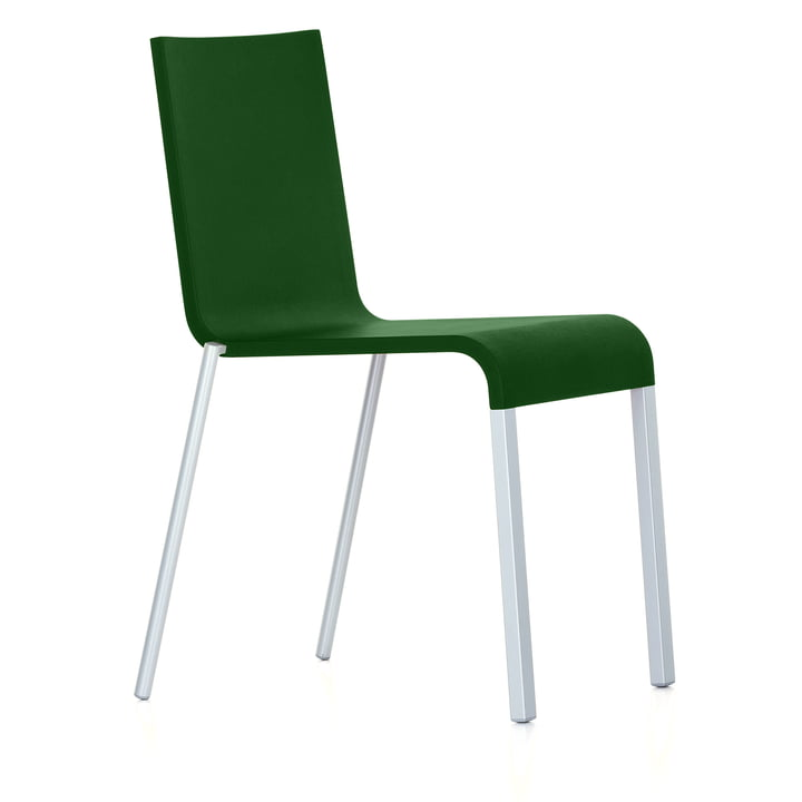 Vitra - .03 chair, stackable, silver (RAL 9006) / dark green