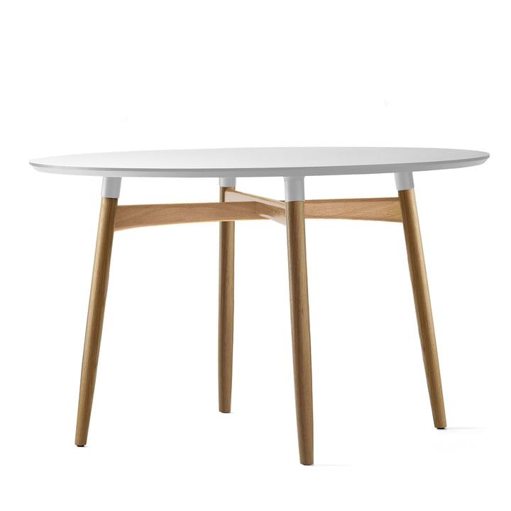 Carl Hansen - BA103 Preludia dining table Ø 120 cm, white laminate / oak