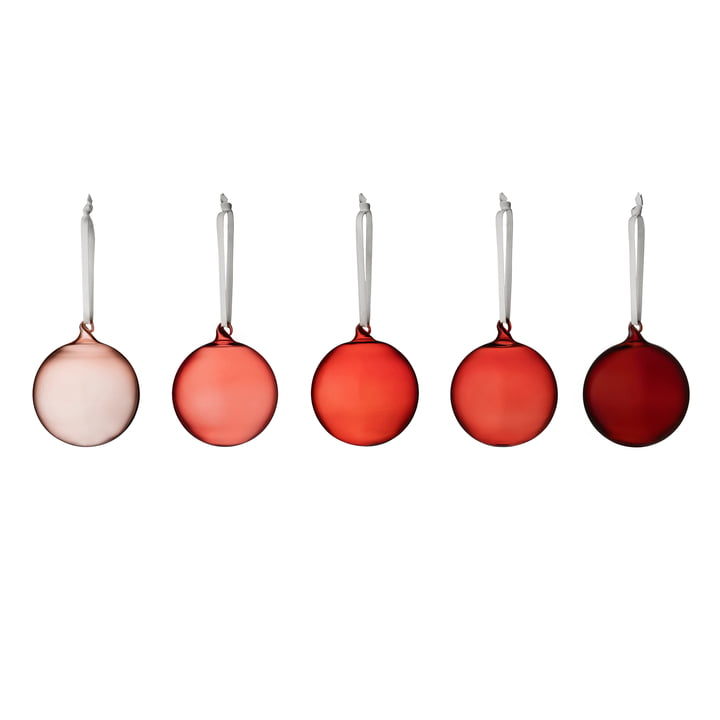 Iittala - Glass Baubles, different shades of red (set of 5)