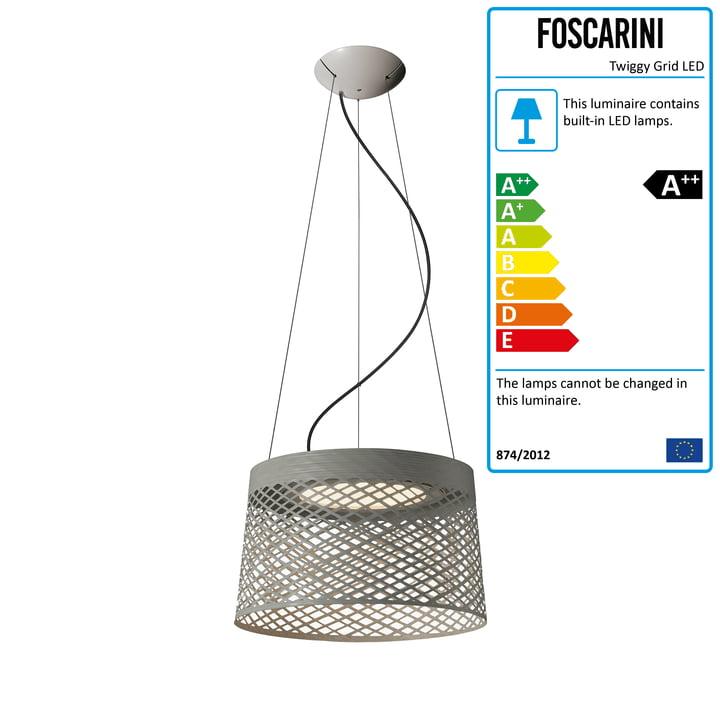 Foscarini - Twiggy Grid LED pendant lamp, greige