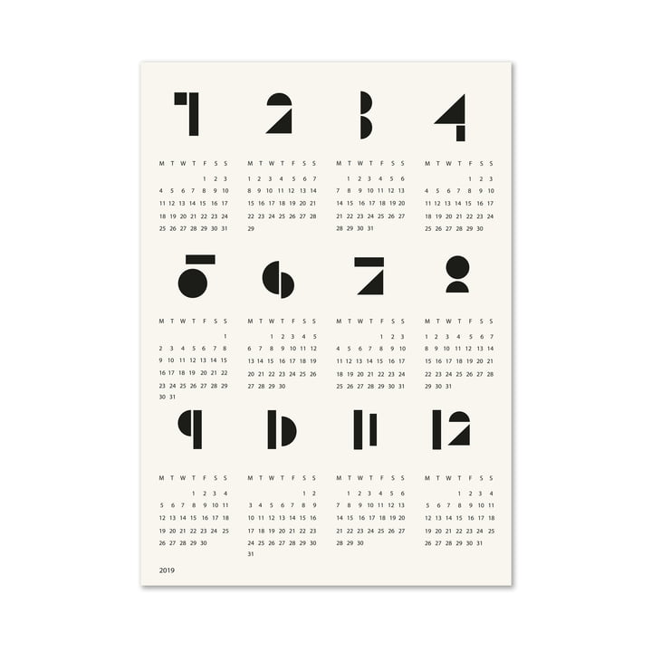 Graphic Toyblocks Wall Calendar in Black