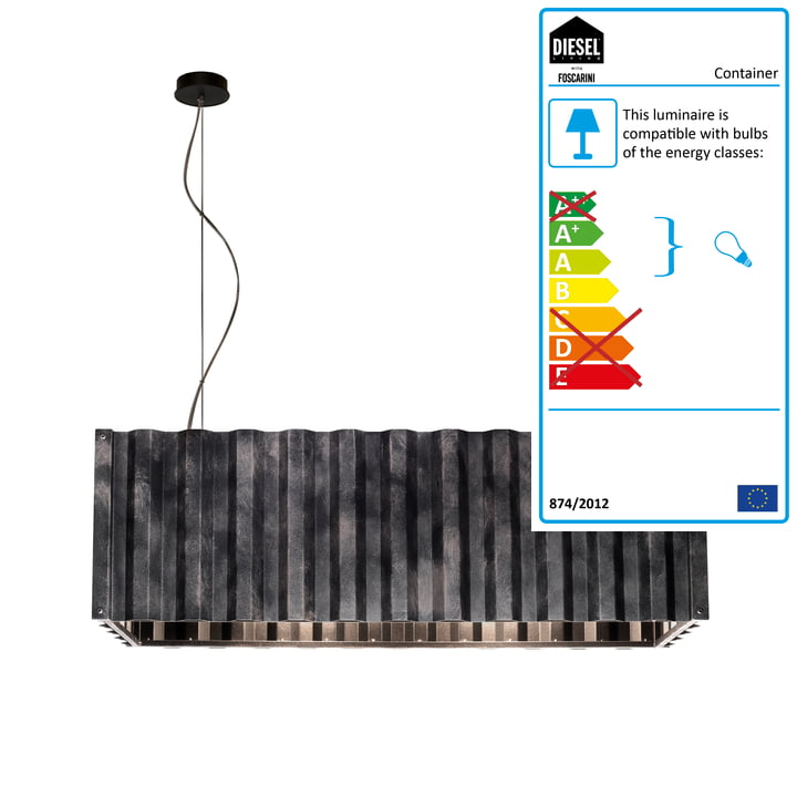Container pendant lamp from Diesel Living in black