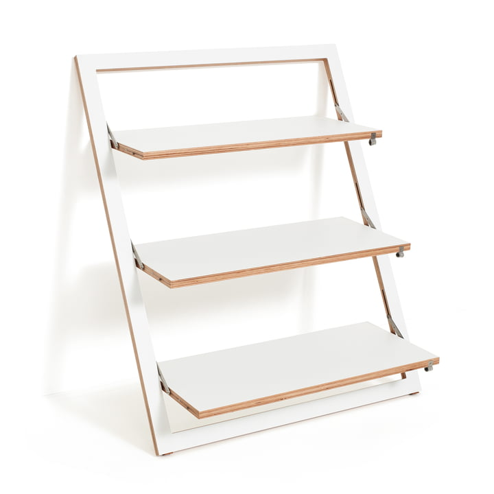 Ambivalenz - Fläpps leaning shelf, 80 x 100 cm, 3 shelves, white