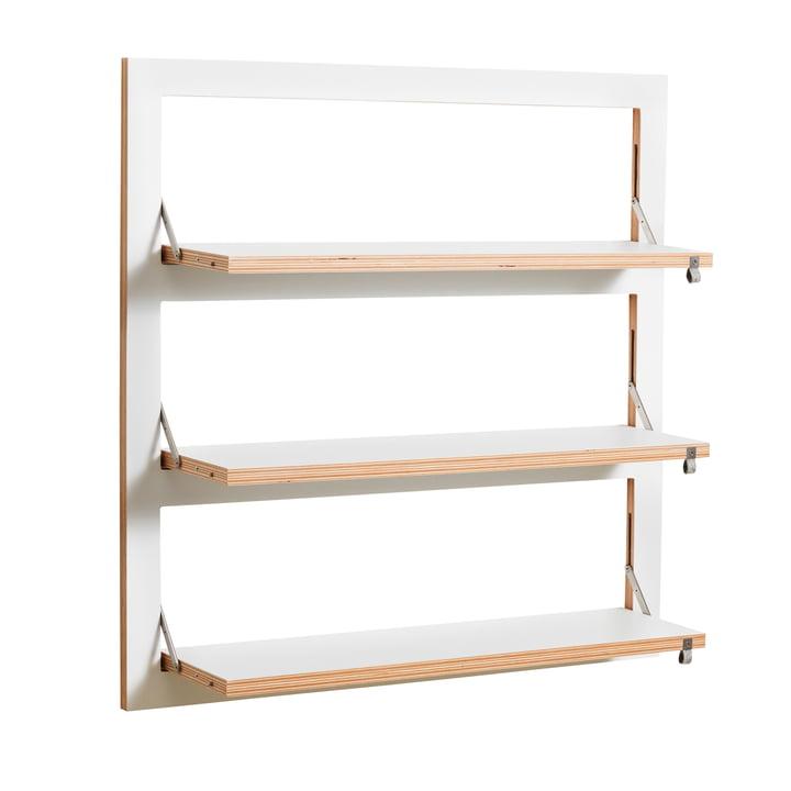 Ambivalenz - Fläpps Leaning Shelf, 80 x 80 cm, 3 shelves, white
