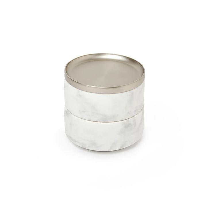 Tesora Storage of Umbra in Nickel / Marble white