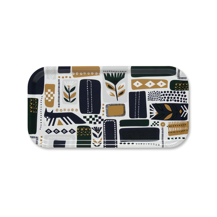 Svaale Tray 43 x 22 cm in White / Dark Green / Plum by Marimekko
