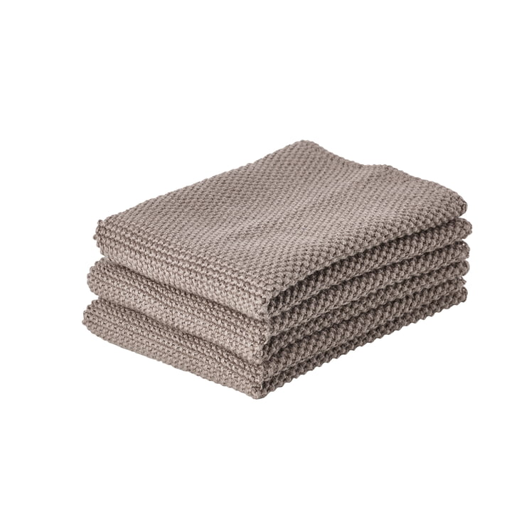 The Zone Denmark - Cleaning cloth, 27 x 27 cm, taupe brown (set of 3)