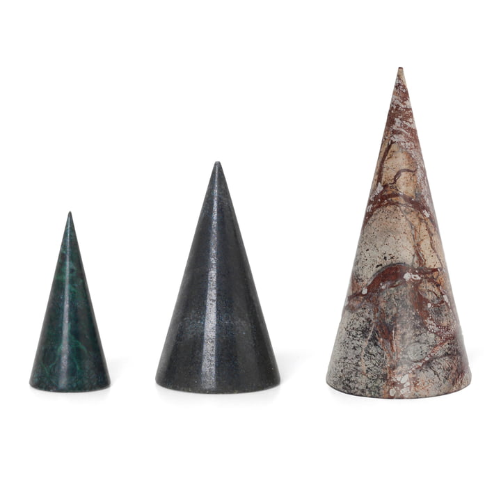ferm Living - Marble Decorative Trees (Set of 3), green / black / brown