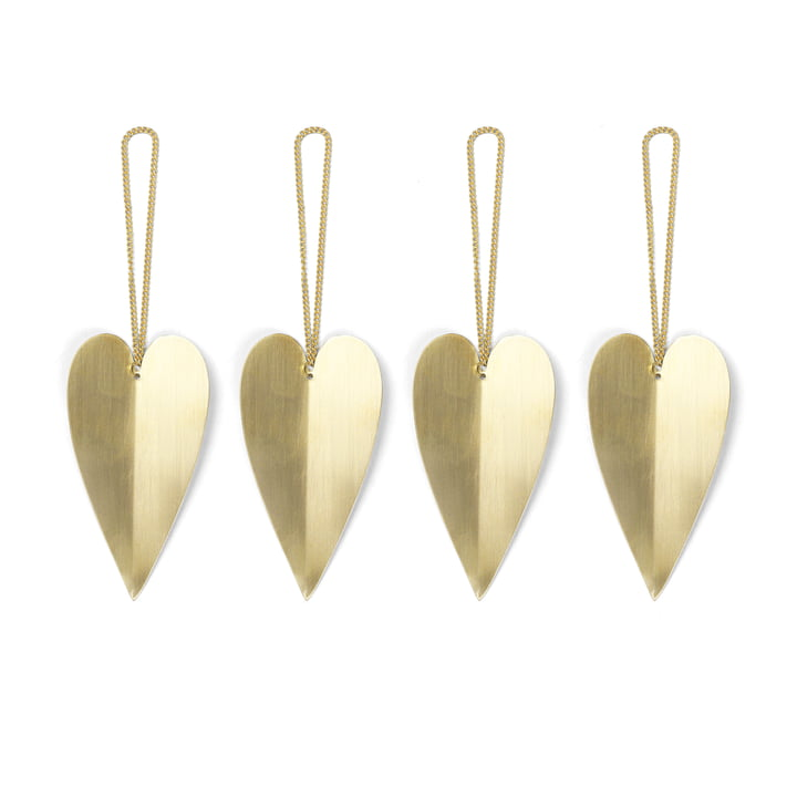 ferm Living - Brass Ornaments, heart (set of 4)