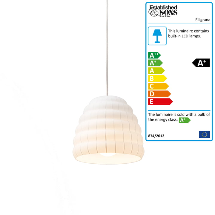 Established & Sons - Filigrana Pendant Lamp S1 Beehive, Ø 160 mm, white / white