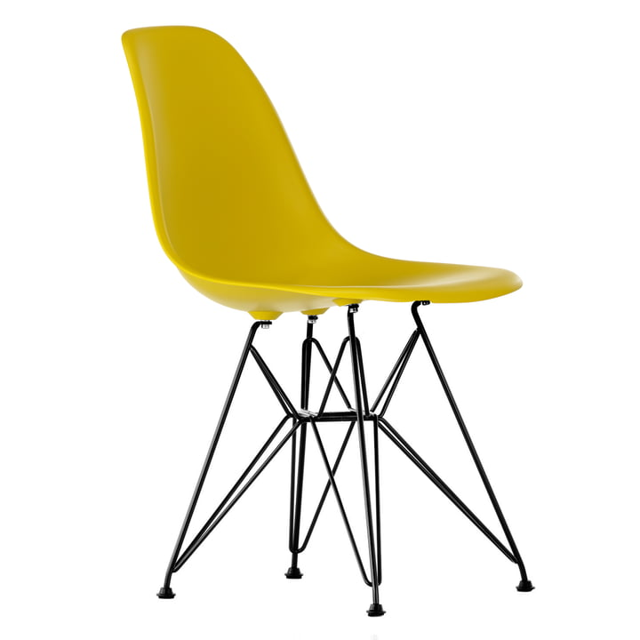 Eames Plastic Side Chair DSR by Vitra in basic dark / mustard