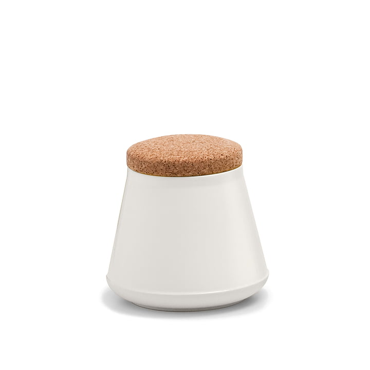 Established & Sons - Store Ceramic Container with Lid H 14 cm, gloss natural white / matt white