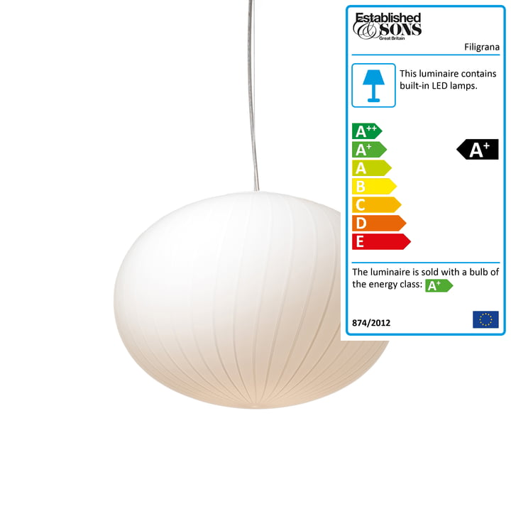 Established & Sons - Filigrana Pendant Lamp S3 Ellipse, Ø 370 mm, white / white