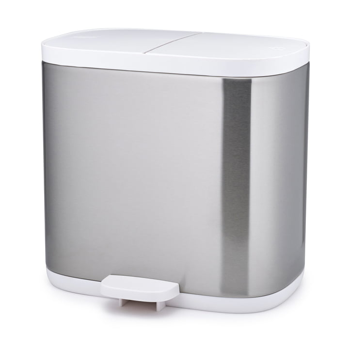 Joseph Joseph - Split Steel 6 Recycling Bin, stainless steel / white