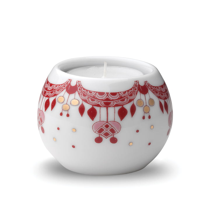 The Guirlande tealight holder Ø 6,5 cm in red / white by Bjørn Wiinblad
