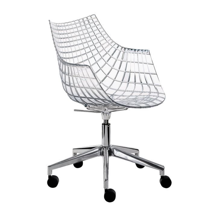 Driade - Meridiana Armchair on castors, polished aluminium / transparent