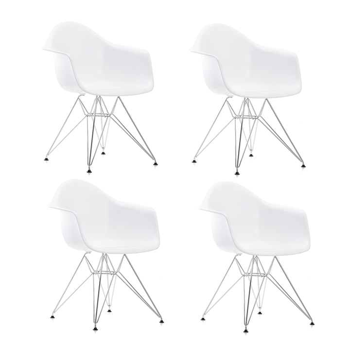 Action: 4 x Eames Plastic Armchair DAR from Vitra in chrome / white